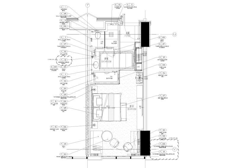 [缅甸]仰光泛太平洋酒店客房样板间施工图-酒店样板间家具平面布置图