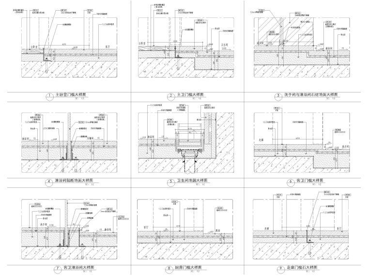 [深圳]华润63㎡现代公寓样板间装修施工图-地面节点大样详图