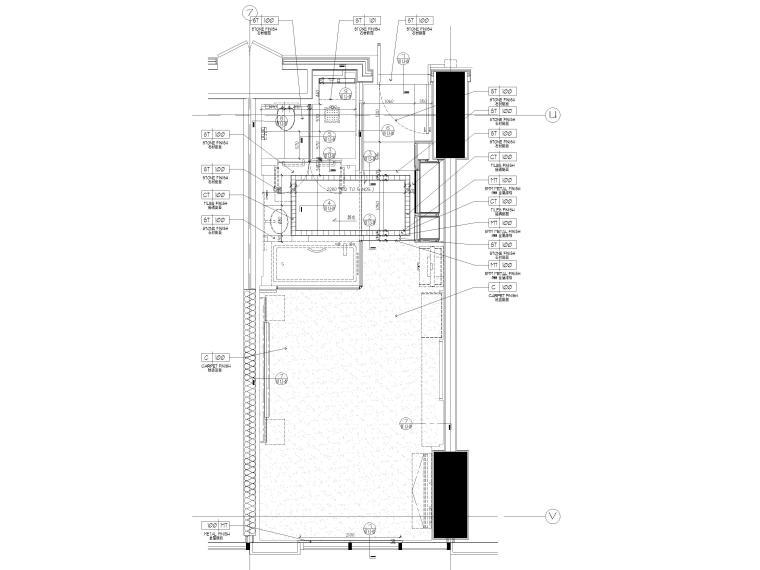 [缅甸]仰光泛太平洋酒店客房样板间施工图-酒店样板间地面铺装图