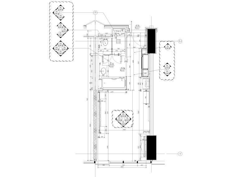 [缅甸]仰光泛太平洋酒店客房样板间施工图-酒店样板间隔墙尺寸图