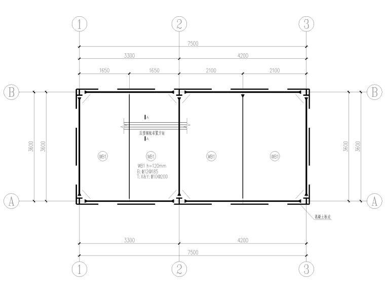 [山东]钢桁架_钢框架结构门卫室全套图2017-板配筋图