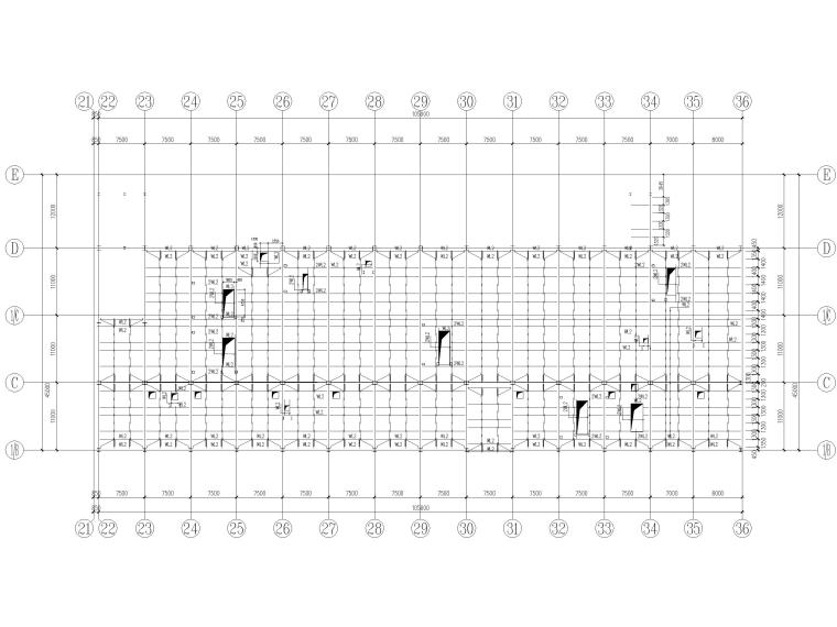 [山东]3层钢框架结构工业厂房全套图纸2017-屋面檩条平面布置图