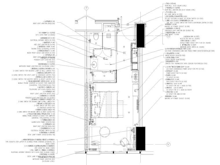 [缅甸]仰光泛太平洋酒店客房样板间施工图-酒店样板间机电平面布置图
