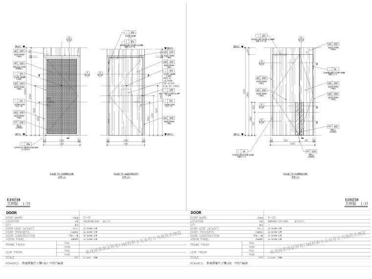 [缅甸]仰光泛太平洋酒店客房样板间施工图-门表图