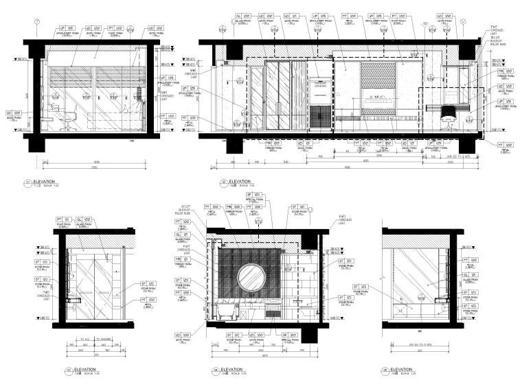 [缅甸]仰光泛太平洋酒店客房样板间施工图-酒店样板间立面图2