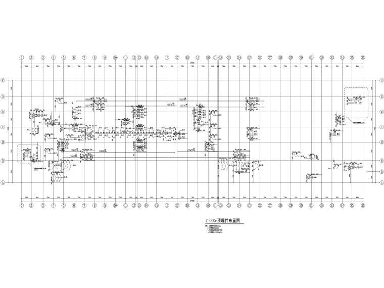 [山东]3层钢框架结构工业厂房全套图纸2017-预埋件布置图