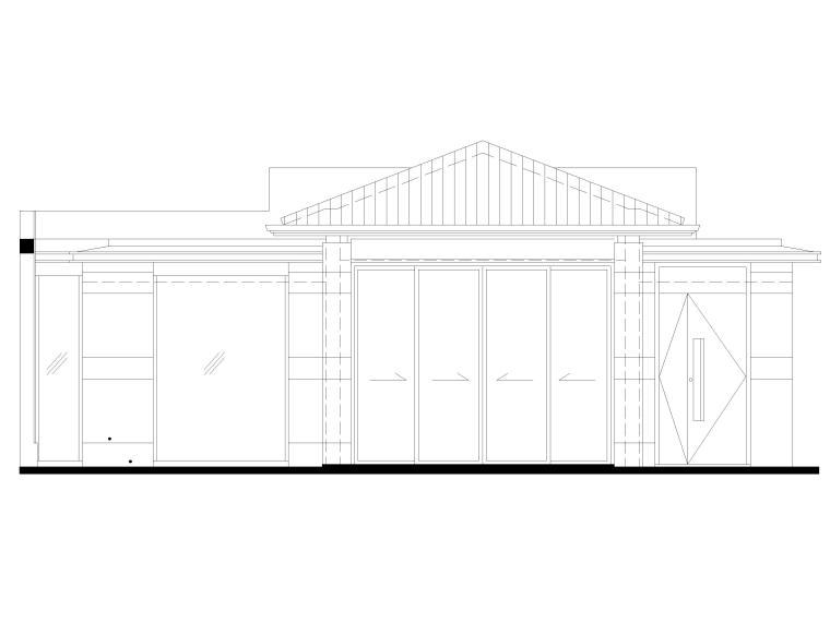 [三亚]海棠之星一层别墅建筑施工图+SU模型-别墅立面图