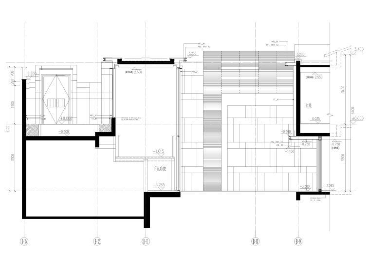 [三亚]海棠之星一层别墅建筑施工图+SU模型-别墅剖面图