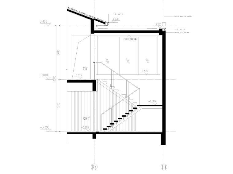 [三亚]海棠之星一层别墅建筑施工图+SU模型-别墅楼梯剖面图