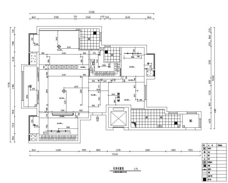 北欧工业风平层住宅-三室两厅装修施工图-吊顶布置图