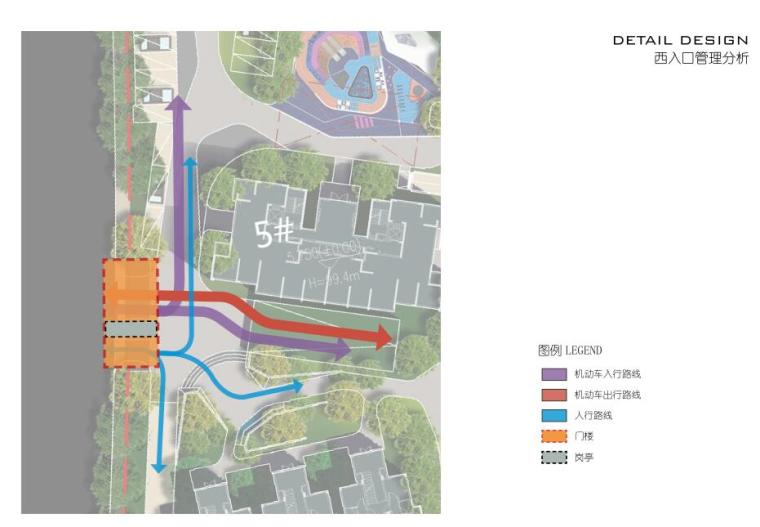 [浙江]杭州鹿栖蝶谷现代风住宅区概念设计-西入口管理分析