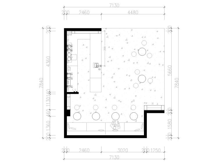 [南京]50㎡柠乐奶茶店样板间装修设计施工图-强弱电插座,开关尺寸布置图