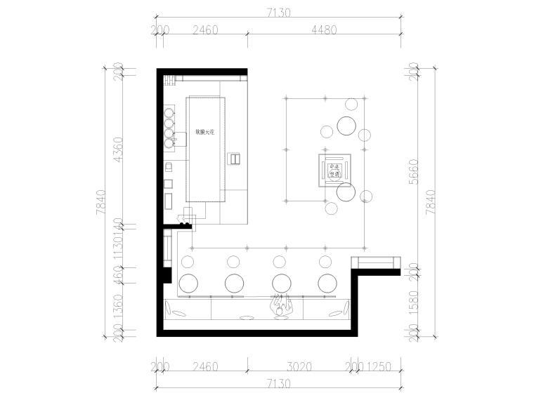 [南京]50㎡柠乐奶茶店样板间装修设计施工图-灯位连线图