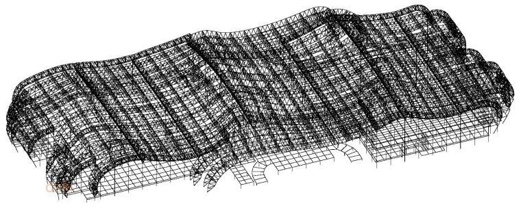 郴州市国际会展中心主体结构设计关键研究-结构空间布置图