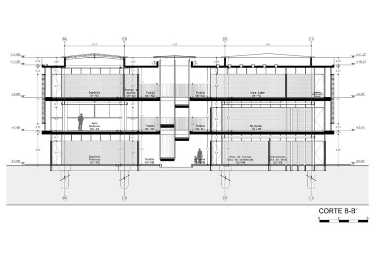 巴拉圭ASA蒸汽学校剖面图