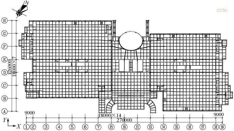 郴州市国际会展中心主体结构设计关键研究-2层结构平面图