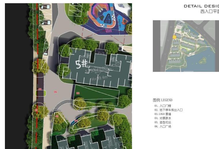 [浙江]杭州鹿栖蝶谷现代风住宅区概念设计-西入口平面图