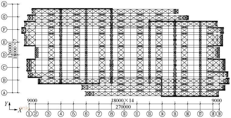 郴州市国际会展中心主体结构设计关键研究-钢屋盖结构平面布置图