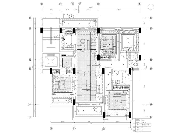 [深圳]160㎡现代三居家装样板房设计施工图-空调及排气扇分布平面图