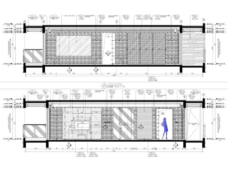 [深圳]160㎡现代三居家装样板房设计施工图-客餐厅立面图