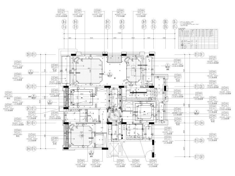 [深圳]234㎡欧式三居家装样板房设计施工图-天花布置图