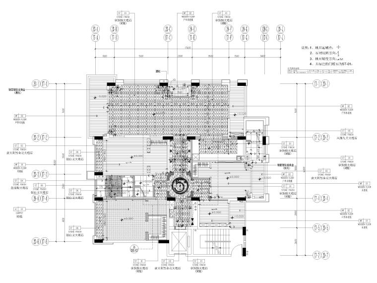 [深圳]234㎡欧式三居家装样板房设计施工图-地面铺装图
