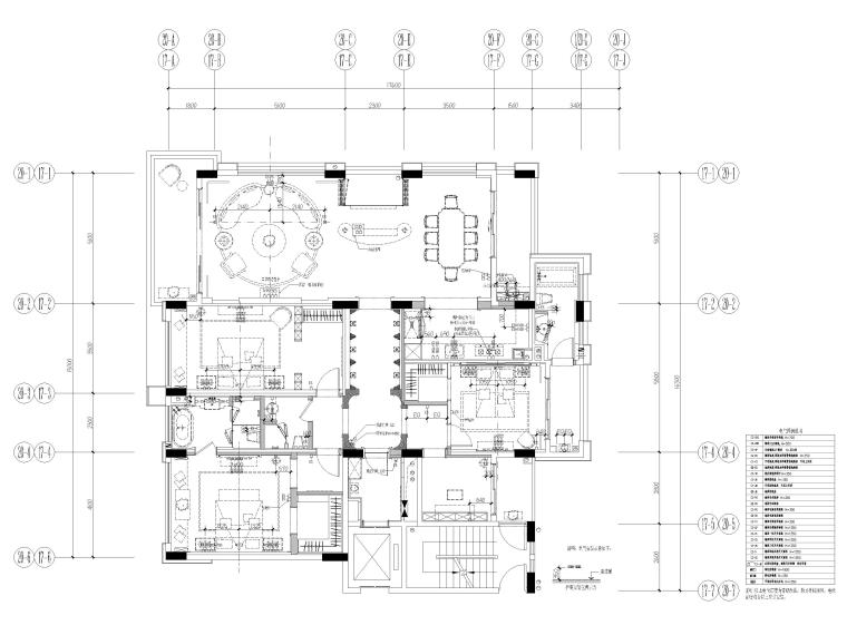 [深圳]234㎡欧式三居家装样板房设计施工图-机电布置图