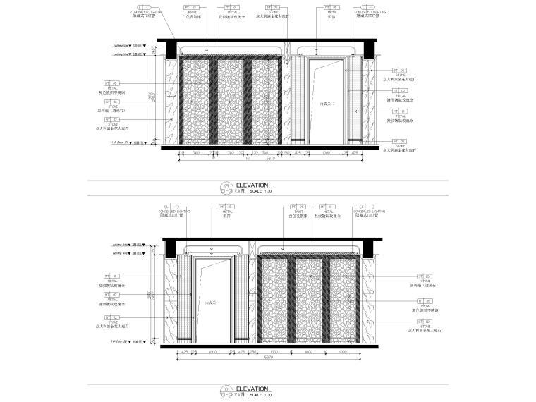 [深圳]234㎡欧式三居家装样板房设计施工图-展示连廊立面图
