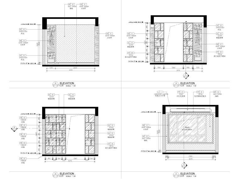 [深圳]234㎡欧式三居家装样板房设计施工图-卧室及衣帽间立面图
