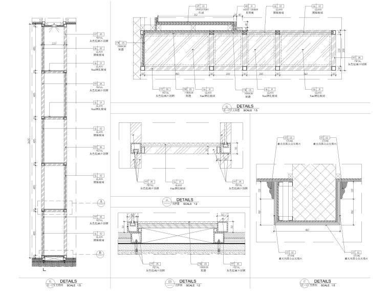 [深圳]234㎡欧式三居家装样板房设计施工图-节点大样详图