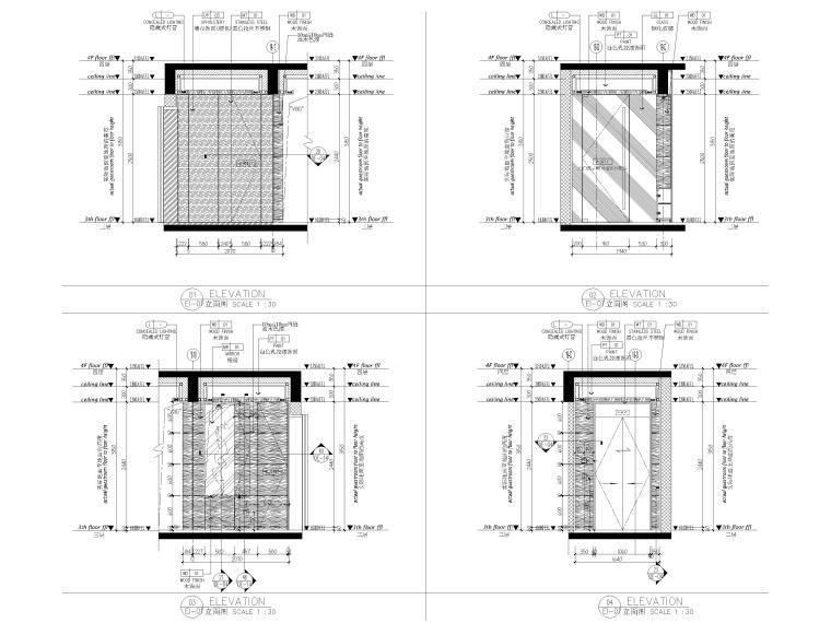 [深圳]160㎡现代三居家装样板房设计施工图-样板间立面图