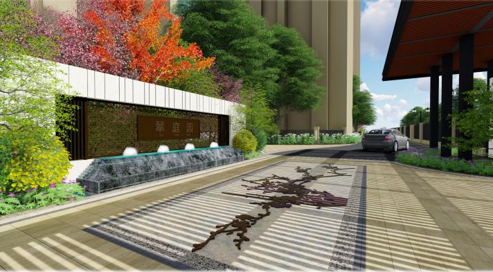 [天津]新古典轻生活主题社区景观方案设计-效果图