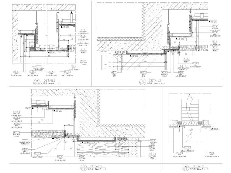 [深圳]160㎡现代三居家装样板房设计施工图-节点大样详图
