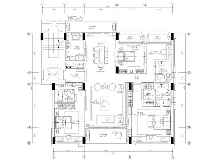 [深圳]190㎡现代三居家装样板房设计施工图-平面布置图