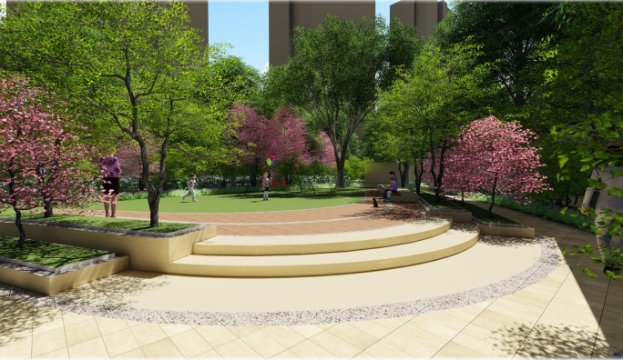 [天津]新古典轻生活主题社区景观方案设计-效果图2