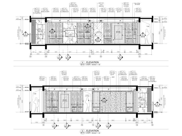 [深圳]190㎡现代三居家装样板房设计施工图-客餐厅立面图