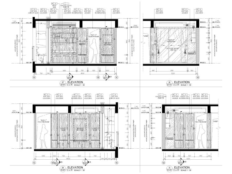 [深圳]190㎡现代三居家装样板房设计施工图-亲子书房立面图