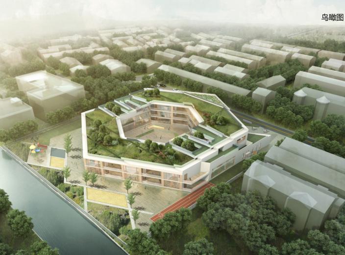 无锡庭院式16班幼儿园规划设计方案文本2019-鸟瞰图