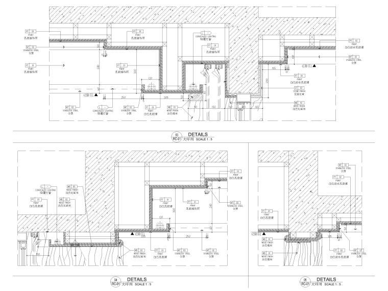 [深圳]190㎡现代三居家装样板房设计施工图-天花节点详图