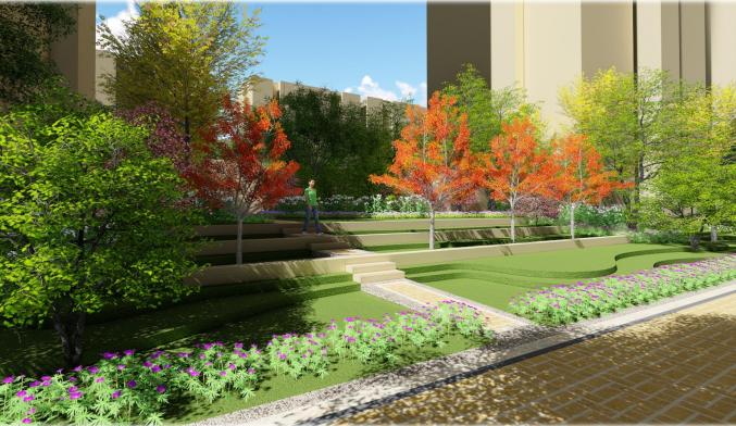[天津]新古典轻生活主题社区景观方案设计-效果图5