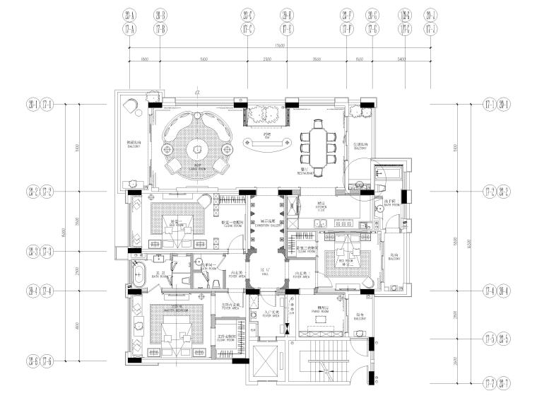 [深圳]234㎡欧式三居家装样板房设计施工图-平面布置图