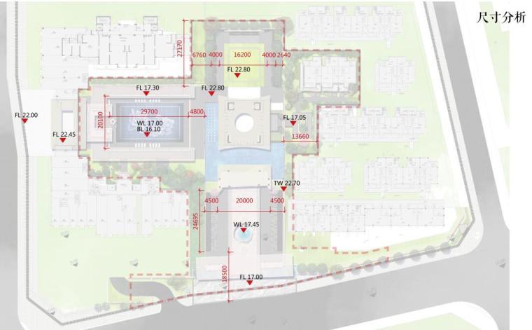[福建]莆田东方雅居住宅景观概念方案设计-尺寸分析