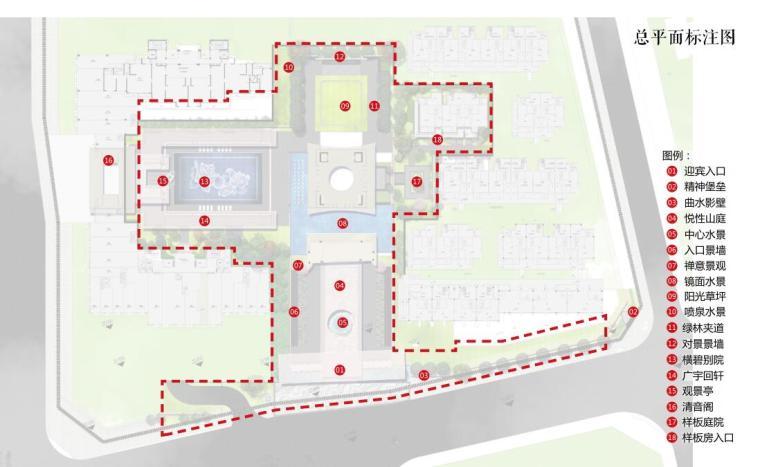 [福建]莆田东方雅居住宅景观概念方案设计-总平面标注图