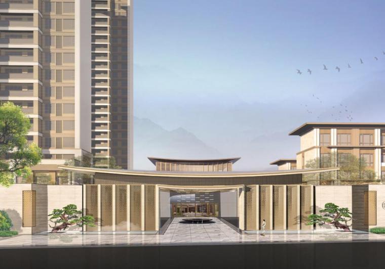 [福建]莆田东方雅居住宅景观概念方案设计-01041 主入口广场效果图