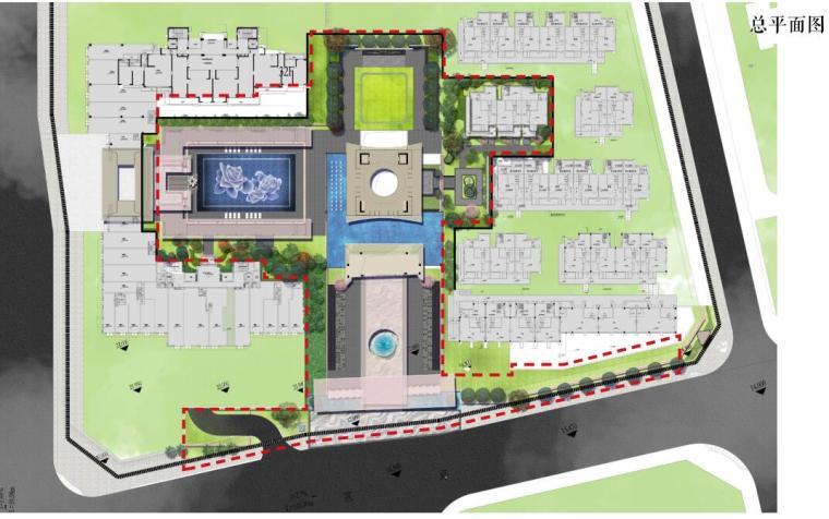 [福建]莆田东方雅居住宅景观概念方案设计-总平面图