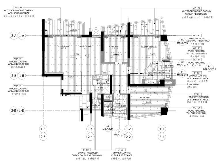 [三亚]山海天156㎡现代三居公寓设计施工图-地面铺装图