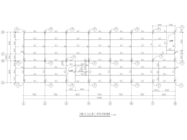 [陕西]5层钢框架结构酒店全套施工图2016-节点平面布置图