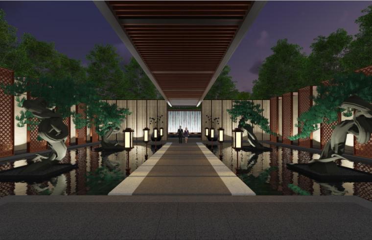 [上海]海派传统中式院子住宅景观方案文本-售楼处效果图2