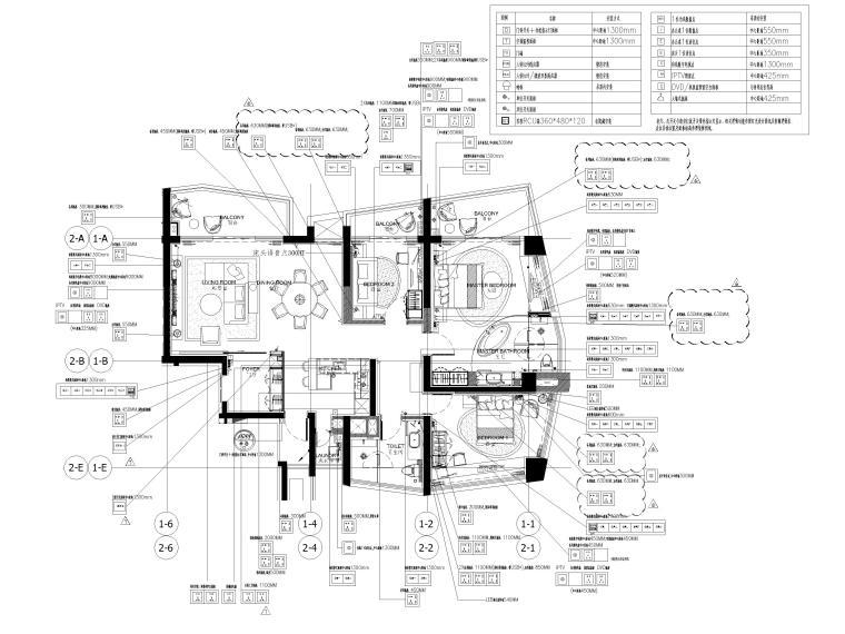 [三亚]山海天156㎡现代三居公寓设计施工图-插座布置图