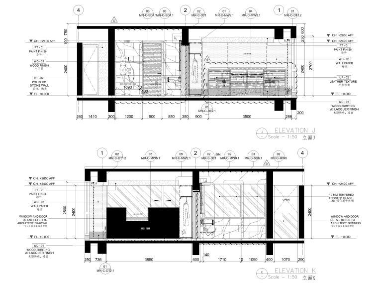 [三亚]山海天156㎡现代三居公寓设计施工图-样板间立面图